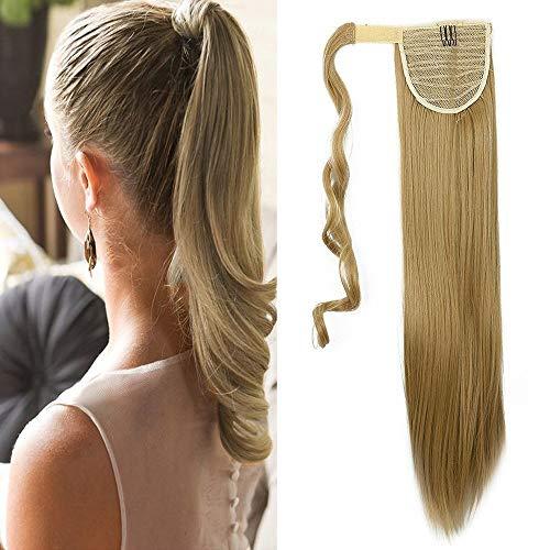 Pferdeschwanz Extensions Ponytail Haarteil Mittelblond Clip in Extensions wie Echthaar Zopf Glatt Kunsthaare guenstig Haarverlängerung 23