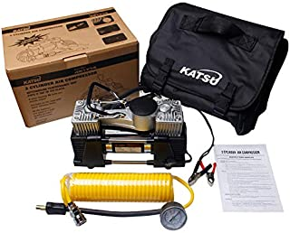 KATSU Tools 451714 - Bomba de compresor de aire para neumáticos de coche o furgoneta, 12 V, gran volumen, multicolor