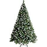 Inicio Equipos DYB Árbol de Navidad Decoración navideña Árboles Árbol de Navidad artificial Cubierto de nieve con conos Fácil montaje Patas de metal sólido Grande Premium Resistente a las llamas Re