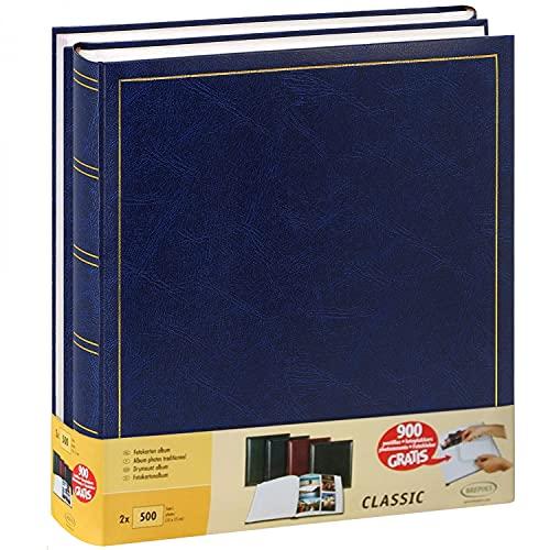 Brepols Jumbo - Juego de 2 álbumes de Fotos Tradicionales (10 x 15 cm), 100 páginas, 500 Fotos, Color Azul
