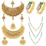 Sukkhi Fascinating Pearl Gold Plated Wedding Jewellery Necklace Mangalsutra & Kada Combo for Women (SKR48721)