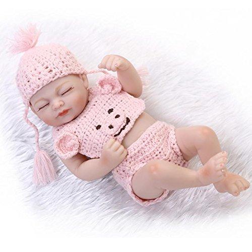 Nicery Reborn Baby Doll Réincarné bébé Poupée Doux Simulation Silicone Vinyle 10 Pouces 26cm Qui Semble Vivant Imperméable Jouet Vif réaliste Âge 3+ Rose Robe Fille Yeux Fermer