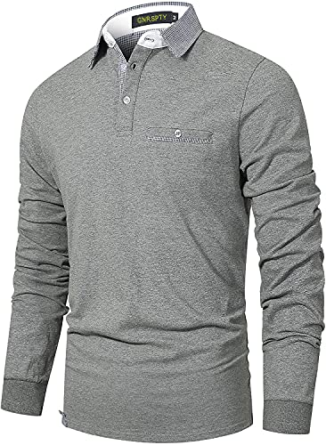 GNRSPTY Polos Manga Larga Hombre Algodon Elegante Casual Camisas Cuello a Cuadros Golf Deporte Tennis Negocios T-Shirt Camisetas,Gris,L