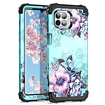 Casetego for Motorola Moto One 5G Case  2020  Moto G 5G Plus Case Moto One 5G UW Case,Floral Three Layer Heavy Duty Shockproof Soft Silicone Rubber+Hard Plastic Bumper Protective Cover,Blue Flower