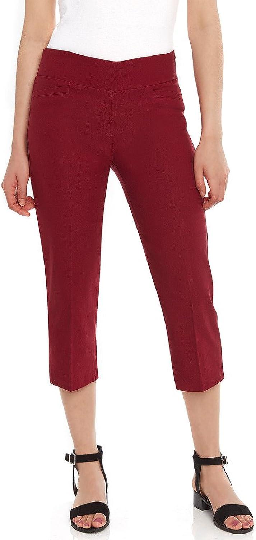 Leveret Women's Pants Pull on Comfort Fit Dress Capri Pants (Size 418) 6 Burgundy