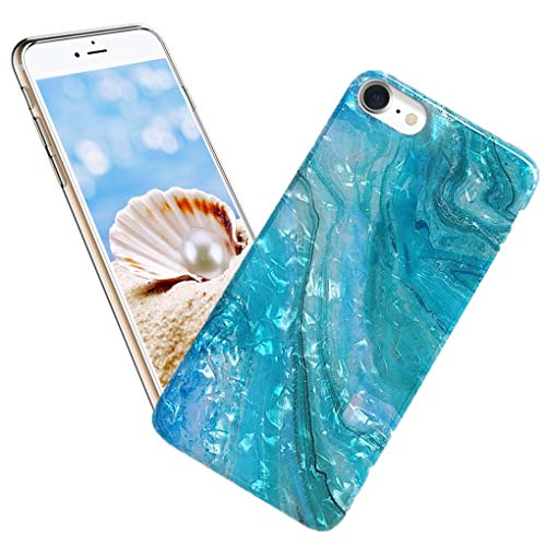 iPhone SE 2020 Case,iPhone 8 Case Girl,iPhone 7 Case Lady,ASANA Glitter Pearly Luster Shell Sparkle Soft TPU Full Protective Flexible Slim Back Phone Case Cover for iPhone 7/8/SE2 4.7,Blue Teal Ocean