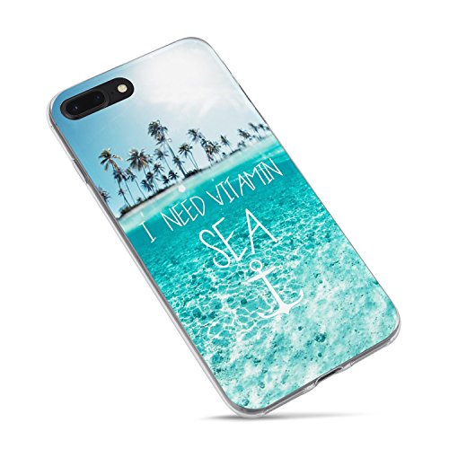 iPhone 7 Case,iPhone 8/SE (2020) Case,Summer Girls Tropical Beach Quotes and Saying I need Vitamin Sea Palm Tree Blue Clean Ocean Beach Hawaii Aloha Summer Clear Rubber Side Case for iPhone 7/iPhone 8