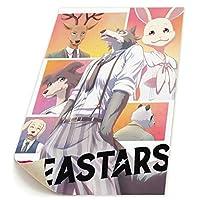 Yongenee Beastars ビースターズ ポスター キャンバス印刷 壁飾り アートパネル アート 絵画 壁掛け 軽量 おしゃれ グッズ 24*34cm