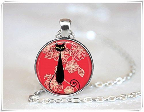 Azulejos de cristal collar collar de gato negro gato negro collar negro joyería azulejos de cristal joyería