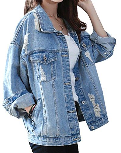 Yasong Women Girls Loose Fit Long Sleeve Vintage Denim Light Wash Faded Ripped Boyfriend Jean Jacket 01 Light blue UK 14