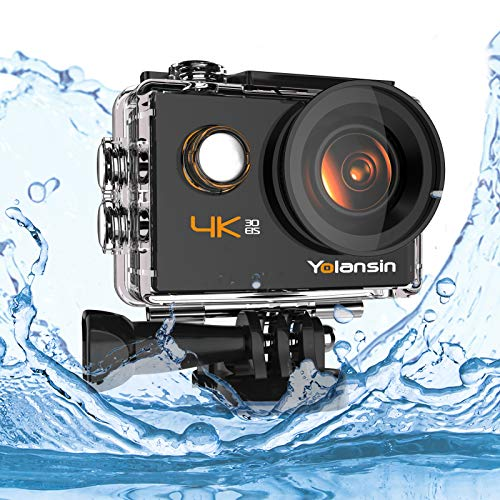 Yolansin 4K Action Camera Underwater Camera 20MP 40M Waterproof EIS Sports Camera with 170° Wide Angle Ultra HD DV Camcorder with 2.4G Remote Control 2 Batteries Mounting Accessories
