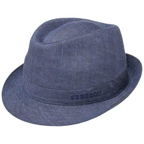 Stetson Geneva Leinenhut - Sonnenhut Damen/Herren - Stoffhut Made in Italy - Sommerhut mit UV-Schutz 40+ - Trilby aus Leinen Frühjahr/Sommer blau 59 cm