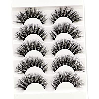 HBZGTLAD New Natural Long Mink Eyelashes 5 pairs 3D False Eyelashes Full Volume Mink Lashes Lightweight Soft Lashes Eyelash Extension (8D-04)