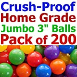 My Balls Pack of 200 Jumbo 3' Home Grade Ball Pit Balls - 5 Bright Colors; Crush-Proof; Air-Filled; Phthalate n BPA Free; Non-Toxic; Non-Recycled Plastic (200 Home Grade Balls)