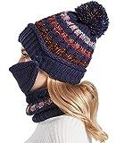 Nanxson 3 Piezas Conjunto de Gorros y Mascarilla Facial para Mujer Gorro de Lana Calentar Sombrero para Invierno MZW0162 (Armada)