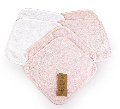 Arus 6 Baby-Waschlappen, aus 100% saugstarkem Bio-Frottee, GOTS-Zertifikat, 2 in Weiß, 4 in Rosa, 30X30 cm