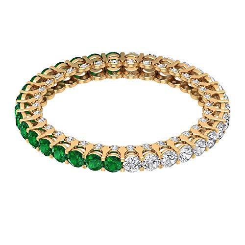 Rosec Jewels 14 quilates oro amarillo redonda Green esmeralda, difuso Diamond