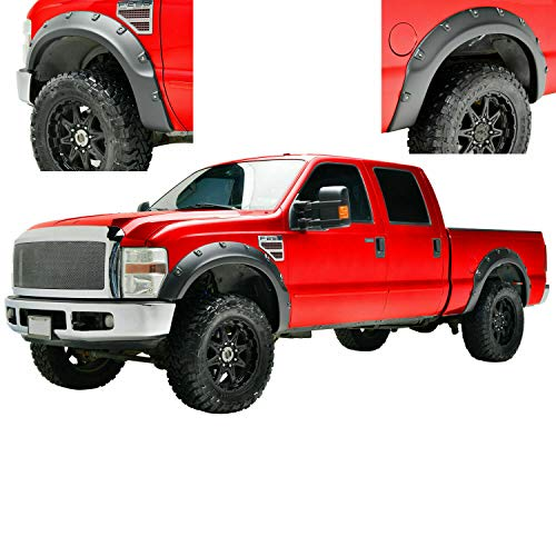 Hollywood Accessories for 2011-2016 Ford F250/350 Super Duty Texture Pop Out Rivets Front and Rear Fender Flares 4pcs with Hardware
