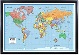Swiftmaps 24x36 World Classic Elite 3D Push-Pin Travel Wall Map Foam Board Mounted or Framed (Black Framed)