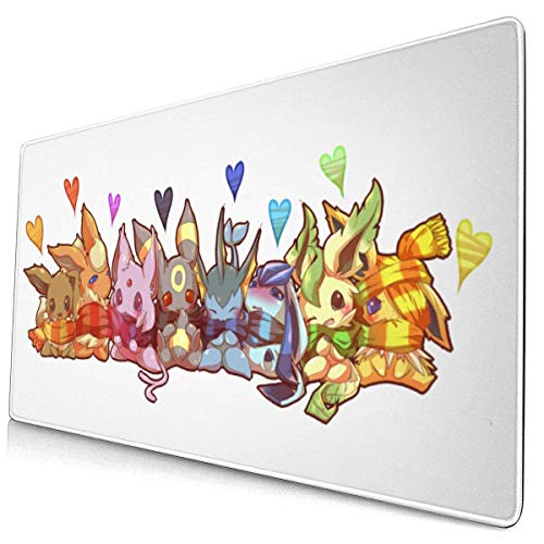 IUBBKI Large Extended Gaming Mouse Pad Flareon Glaceon Jolteon Popular Anime with Stitched Edge Durable Mousepad Desk Mat Non-Sli.