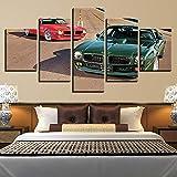 DXZJN HD Acuarela Wall Modular Pictures 5 Set Modern Automobile Prints Decoración para el hogar Poster Kids Room Canvas Painting Artwork Impresiones sobre Lienzo 5 Piezas Pintura C Sin marco 150*80CM