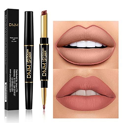 Doppelkopf-Matt-Lippenstift mit Lipliner, 2 in 1 wasserdichter langlebiger Lippenstift Haltbarer Nude Velvet Lipstick Pen Pencil