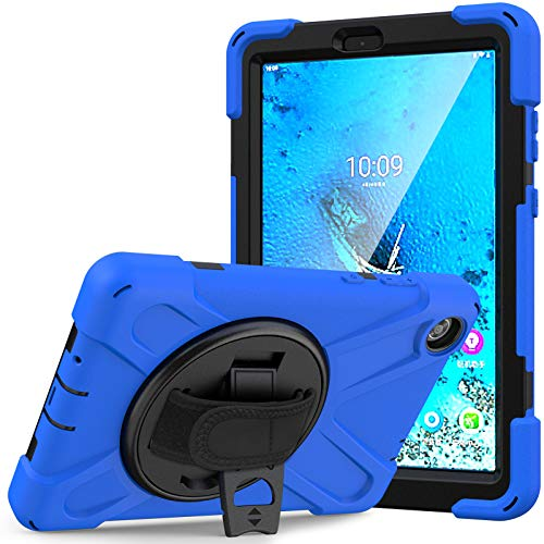 JCTek Case for Lenovo Tab M8 8.0-inch 2019 Tablet TB-8505F TB-8505X with Screen Protector, Hybrid Armor Rugged Protective Case, Hand Strap & Shoulder Strap (blue)