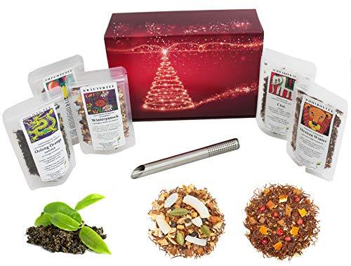 Tee Geschenk Set Probierpaket im weihnachtlichen Geschenkpaket mit 5 x 25 g Weihnachtstees und Edelstahl-Teefilter | Tee Geschenk Set Weihnachten Nikolaus