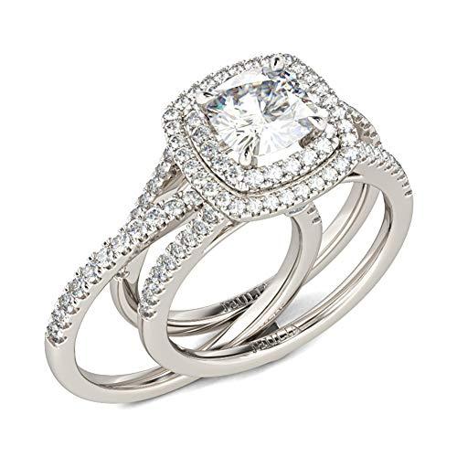 Jeulia 2 piezas de anillos para mujer, anillo de compromiso de plata esterlina chapado en oro, corte redondo, circonita, diamante, anillo solitario, anillo de aplicación (17)