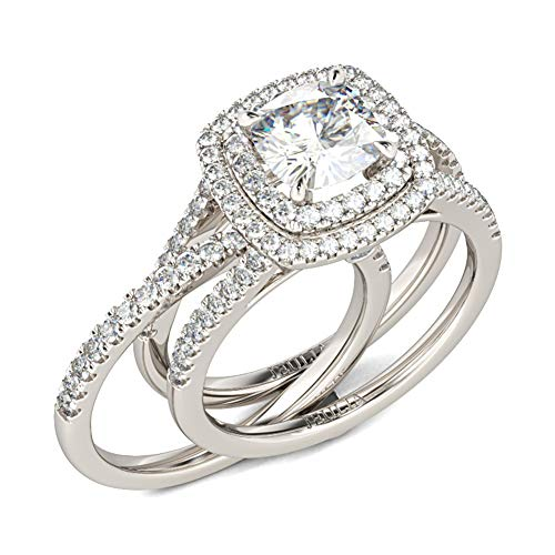 Jeulia 4.06ct Double Halo Cushion Cut Sterling Silver Ring Set for Women 925 Sterling Silver Fashion Ring Sets Wedding Engagement Anniversary Promise Ring Bridal Sets Jewelry (Q 1/2)