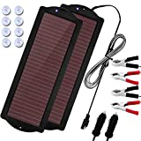 MEGSUN 2 Pack 2.5W Amorphous Solar Car Battery Trickle Chargers Kits for 12 Volts Battery, Waterproof Portable Solar Panel...