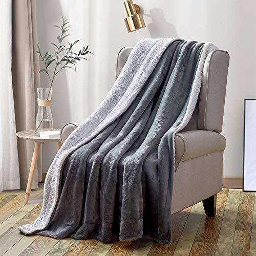 softan Sherpa Vlies Decke Nicht Verschütten Fuzzy Weich Bett Decken Doppelt Seite Werfen Decke passen Couch Sofa, Grau 150 * 200CM