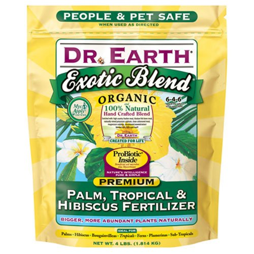 Dr. Earth INC 756P Exotic Exoitc Blend Palm, Tropical & Hibiscus Fertilizer 4lb, Natural