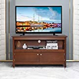 Tangkula Wood TV Stand, Classic Style Home Living Room Furniture, Multipurpose Storage Console, Entertainment Media Center (Coffee)