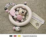 Baby Greifling Rassel Beißring mit Namen - individuelles Holz Lernspielzeug