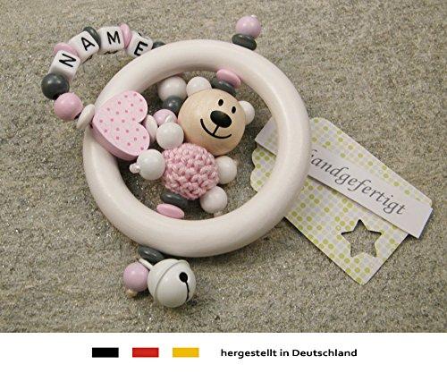 Baby Greifling Rassel Beißring mit Namen - individuelles Holz Lernspielzeug als Geschenk zur Geburt Taufe - Mädchen Motiv Bär und Herz in rosa