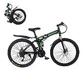 HUUH Folding Mountain Bike, 26 Inch Full Suspension Mountain Bike 21 Speed Folding Bike Non-Slip Bike Dual Disc Brakes for Outdoor Racing Cycling 【Ship from USA】 (B)