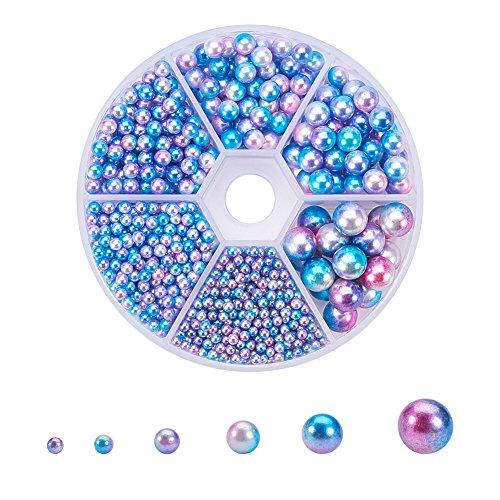 PandaHall Elite 1 Box über 1800 Stück Nachahmung Perlen Acryl Perlen, kein Loch/ungebohrt Perlen für Schmuck, runde Form, bunt, 2,5~8 mm