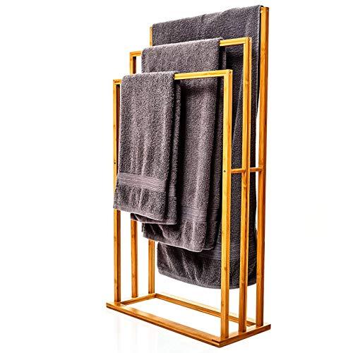 bambuswald© großer Handtuchhalter aus 100% Bambus - umweltfreundlicher & nachhaltiger Handtuchständer mit 3 Handtuchstangen freistehend für Bad BZW. Badezimmer | hübsches Badaccessoire für Handtücher
