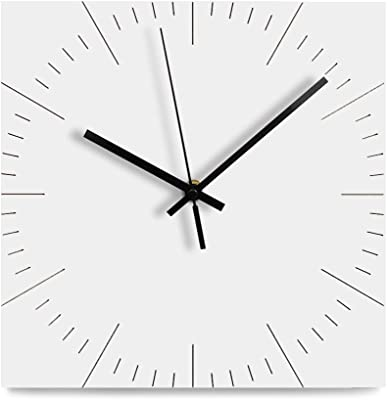 FlorLife White Vintage Wall Clock, 12-Inch Non-Ticking Silent Wooden Modern Wall