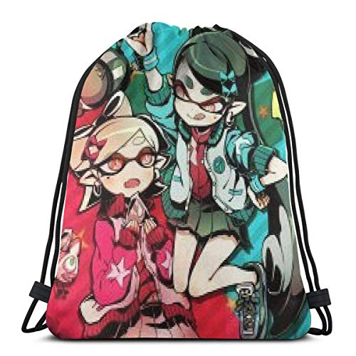 GeorgoaKunk Splatoon Sister Squid Waterproof Foldable Sport Sackpack Gym Bag Sack Drawstring Backpack