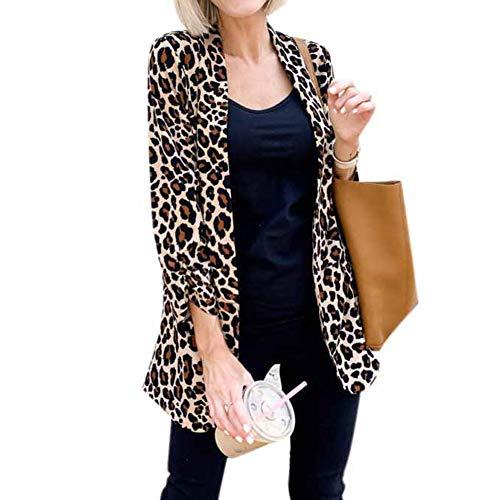 OUlike Vrouwen Luipaard Print Vest Sexy Lange Mouw Luipaard Zakelijke Werk Suit Jas Top Bovenkleding
