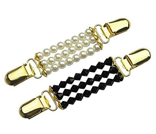 CAREOR 2 Pack White & Black Pullover Clips, Perlen-Cardigan-Clips, Stilvolle Perle, Cardigan Kragen Clip