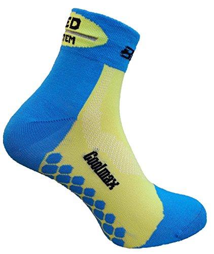 eXPANSIVE COOLMAX Chaussettes de cyclisme courtes réfléchissantes à LED Bleu/vert citron, Bleu/citron vert, UK 2.5-5 / EU 35-38