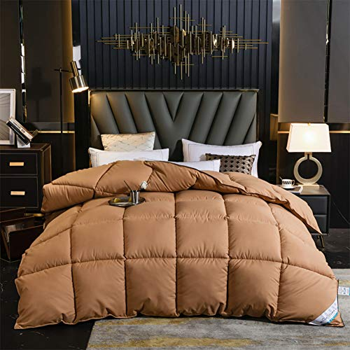 WJYHXW Soft Queen Goose Down Alternative Comforter, All Seasons Puffy Warm Duvet Insert with Corner Tabs, Reversible Hotel Collection 200X230cm(79X91inches),Brown