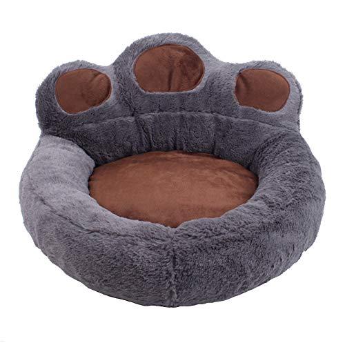 Camas para Perros y Gatos,Colchón de Espuma Viscoelástica Sofá para Mascotas con Forma de Pata de Oso de Felpa,LavableCamas Cálidas para Invierno Cesta para Perros Cojín (Color:Gris,Size:L)