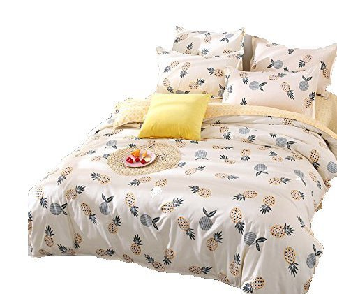Kimko Kids Pineapple Bedding Set - Fresh Soft Bedding Collection - Yellow Pineapple Green Leaves Pattern White Cover -4Pcs -1 Duvet Cover Set + 1 Bed Sheet + 2 Pillowcases