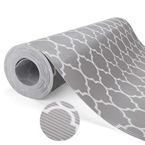 """Glotoch Shelf Liners for Kitchen Cabinets 12"""" x 20 ft. - Non Adhesive Cabinet and Drawer Liner Roll Double Sided Non-Slip Durable and Strong, Quatrefoil Gray"""