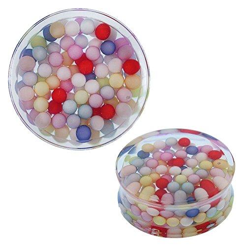 Chic-Net Plug kleurrijke kralen acryl transparante tunnel Expander Piercing Oorbellen