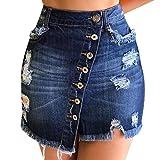 Gonna Di Jeans, Gonna Donna Eleganti Gonna A Trapezio Gonne Corte Sexy Minigonna Jeans Denim, (XL, Nero)